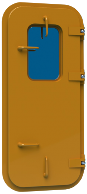 Bofor proud weathertight commercial marine door with individual dog handles and window DWHPRALH